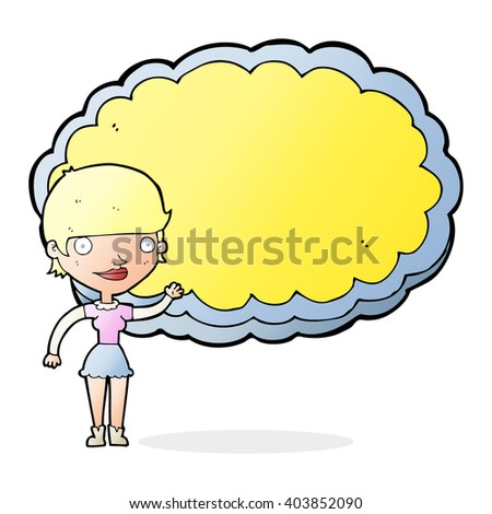 cartoon woman presenting cloud with space for text - stock vector