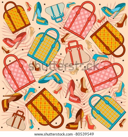 Cartoon woman's bag and shoes. Vector background