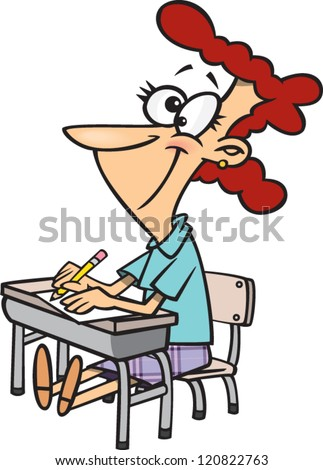 cartoon woman sitting at a desk going back to school
