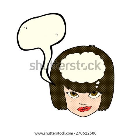 cartoon woman thinking with speech bubble - stock vector