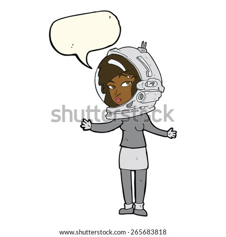 cartoon woman wearing astronaut helmet with speech bubble - stock vector