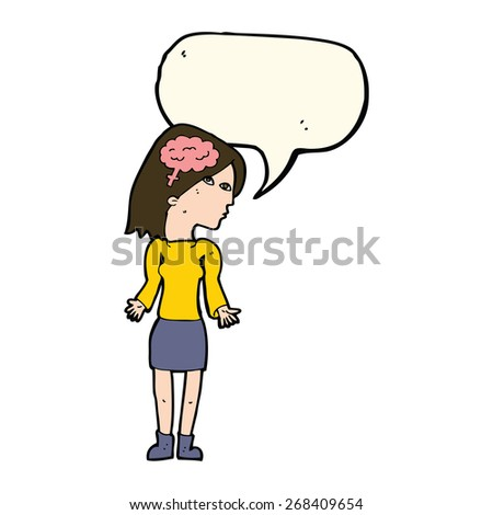 cartoon woman with brain symbol learning - stock vector