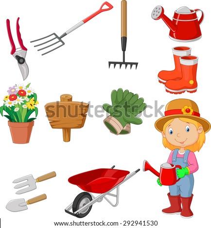 Cartoon women holding watering gardening tool  - stock vector
