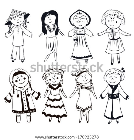 Cartoon women in different traditional costumes, black-white vector set - stock vector