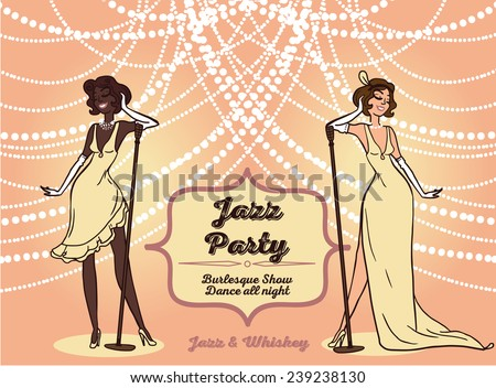 cartoon women in retro style singing jazz music, Chicago party invitation, vector illustration - stock vector
