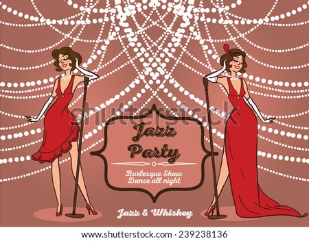 Cartoon women retro style singing jazz stock vector 2018 239238136 cartoon women in retro style singing jazz music chicago party invitation vector illustration stopboris Image collections