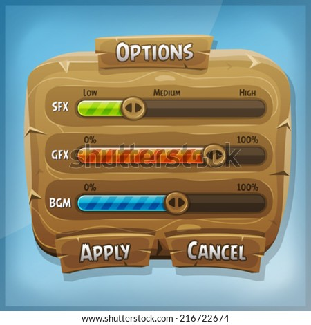 Cartoon Wood Control Panel For Ui Game/ Illustration of a funny cartoon design ui game wooden options control panel including status and level bars, for app on tablet pc, with spring blue sky - stock vector