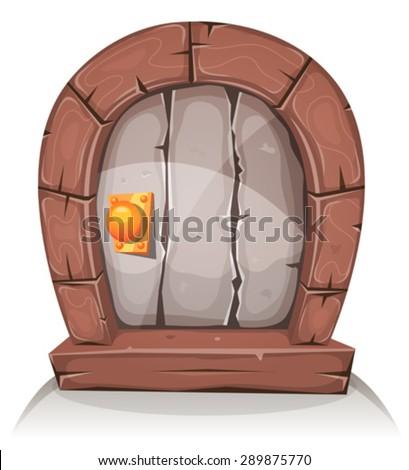 Cartoon Wooden And Stone Hobbit Door/ Illustration of a cartoon comic hobbit like funny little curved stone door with wood doorframe - stock vector