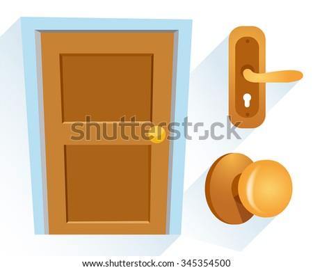 Cartoon Wooden Door : Vector Illustration - stock vector