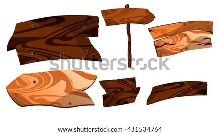 Cartoon wooden plaque. Wooden pointers.Wooden boards. - stock vector