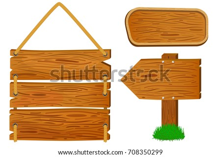 Cartoon Wooden Sign And Banners Rustic Arrow Vector Illustration On White Background
