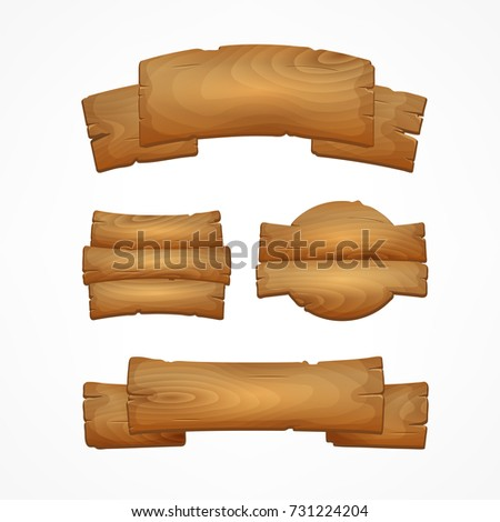 Cartoon wooden signboards. Wood banner vector elements isolated on white background.