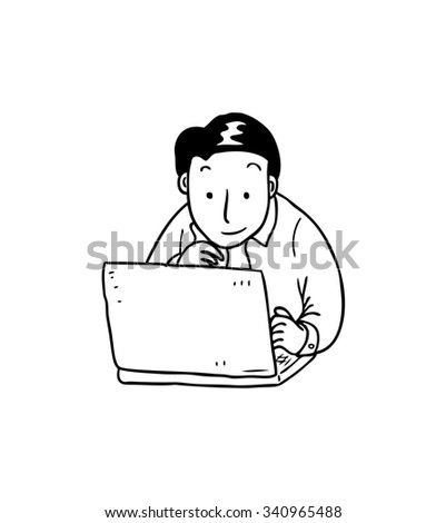 cartoon worker with laptop - stock vector