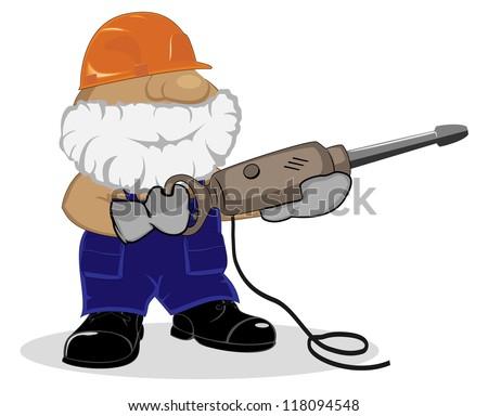 cartoon worker with pneumatic hammer - stock vector