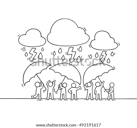 Cartoon working little people with umbrella. Doodle cute miniature scene of workers hiding from rain. Hand drawn cartoon vector illustration for business design.