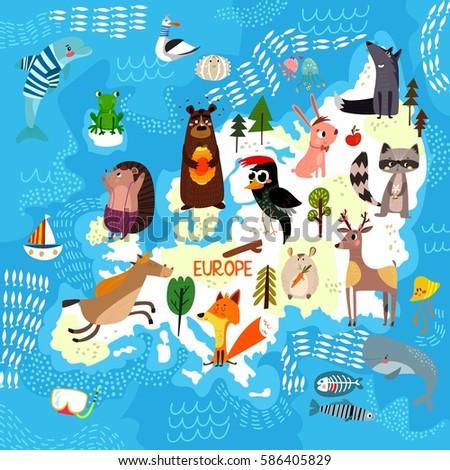 Cartoon World Map Traditional Animals Illustrated Stock Vector ...