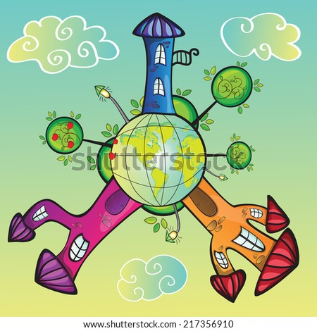 Cartoon world with funny houses - vector illustration - stock vector