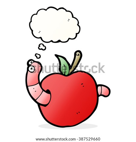 cartoon worm in apple with thought bubble - stock vector