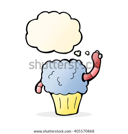 cartoon worm in cupcake with thought bubble - stock vector