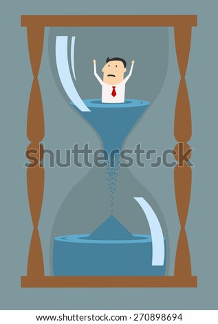 Cartoon worried businessman thinking into hourglass trying to break the clock, suited for deadline or drowning in time concept design  - stock vector