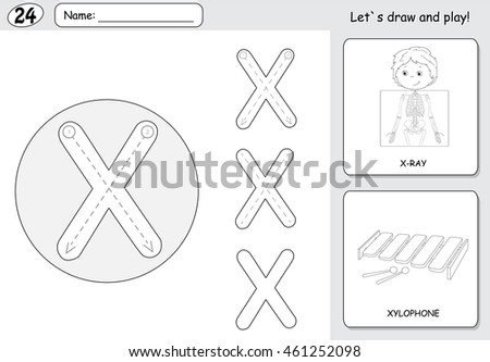 Xiphias Coloring Page X Is For Xylophone Sto...