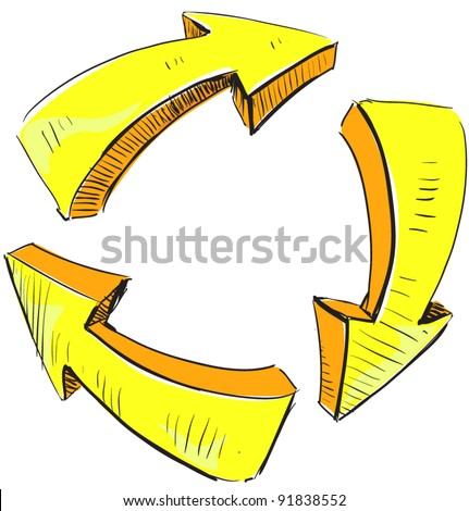 Cartoon yellow arrows and recycle sign icon. Sketch fast pencil hand drawing illustration in funny doodle style.