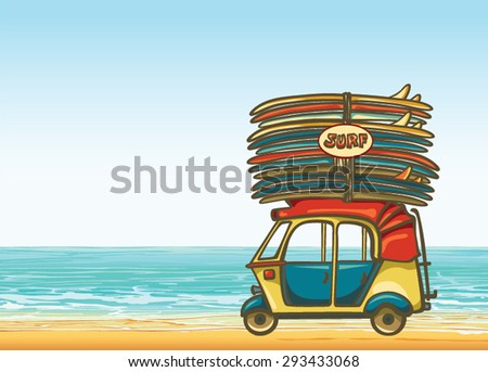Cartoon yellow auto rickshaw with surfboards on a blue sea background. Vector illustration about surfing. - stock vector
