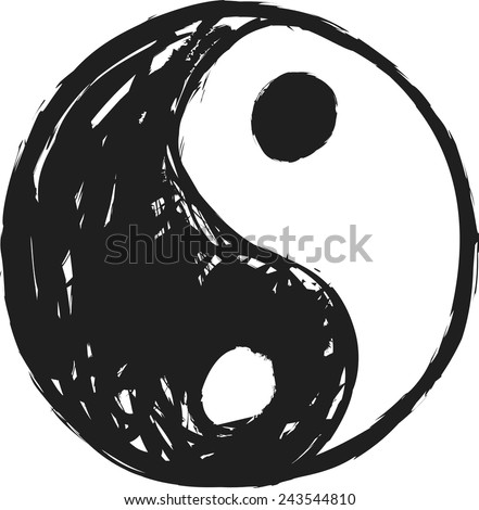 cartoon ying and yang, vector design element - stock vector