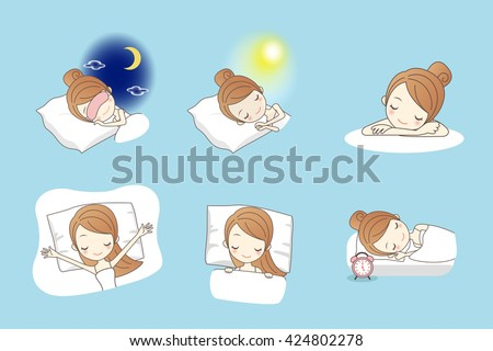 Cartoon young beauty woman sleep on bed, great for your design - stock vector