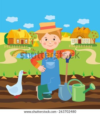 Cartoon Young Farmer Working In The Farm. Village Landscape. Vector Illustration. Farmer Working In The Field. Farmer Working In The Farm. Farmer Working Coloring. Working Landscape Drawings. - stock vector