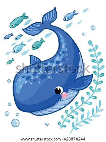 Cartoon young whale surrounded by small sea fish, seaweed and air bubbles. Vector illustration in cartoon style for summer sea theme.