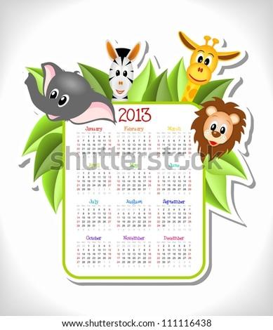 cartoon zebra, elephant, giraffe and lion with calendar 2013 - vector illustration - stock vector