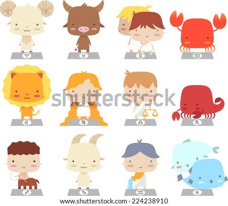 cartoon zodiac characters manga symbols cartoon vector illustration - stock vector
