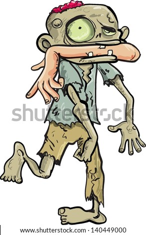 Cartoon zombie carrying a human arm in his mouth. Isolated on white - stock vector