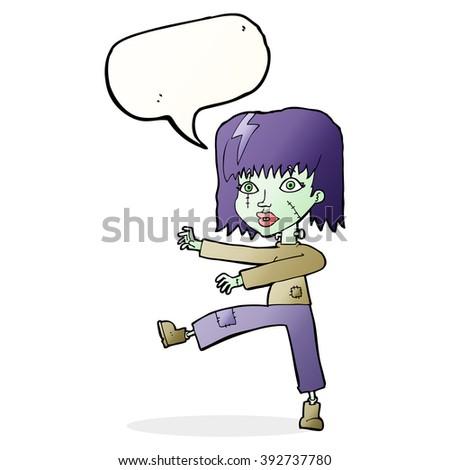 cartoon zombie girl with speech bubble - stock vector