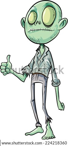 Cartoon zombie giving thumbs up. Isolated