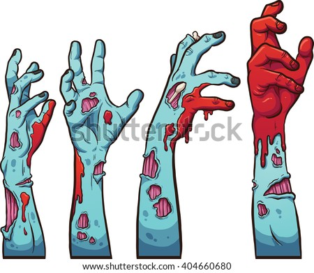 Cartoon zombie hands. Vector clip art illustration with simple gradients. Each on a separate layer. - stock vector
