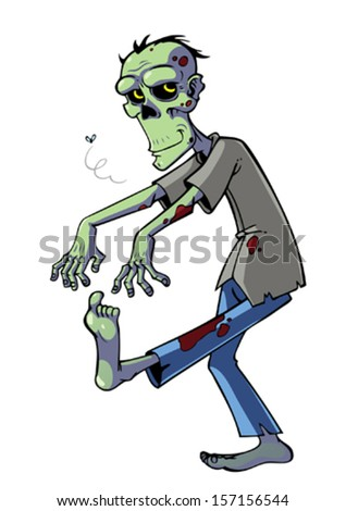 Cartoon zombie isolated on white.
