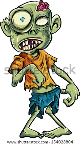 Cartoon zombie with a big eyes - stock vector