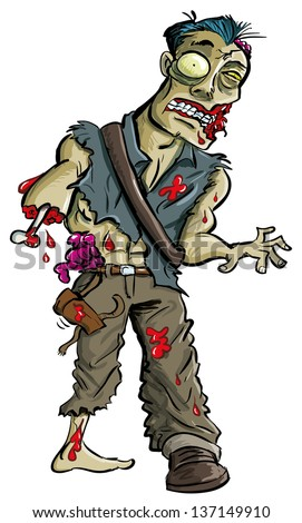 Cartoon zombie with arm eaten off, isolated on white  - stock vector