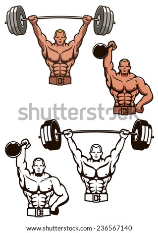 Cartooned bodybuilder lifting weights with barbell and dumbbell for sports design - stock vector