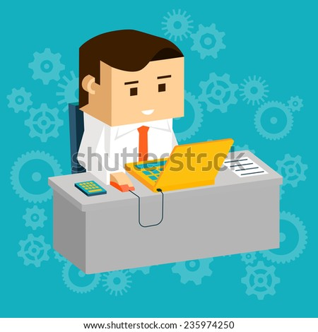 Cartooned Businessman Busy Working at his Gray Table with Laptop Computer. Designed in 3D Flat Style with Abstract Blue Green Background. - stock vector