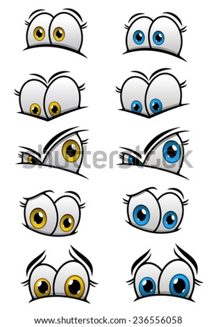 Cartooned eyes with blue and yellow iris and different emotions for characters or comics design - stock vector