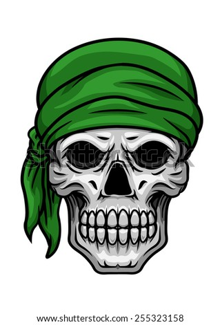 Cartooned scary skull with sullen bared teeth in green bandana isolated on white background for halloween party or t shirt print design - stock vector