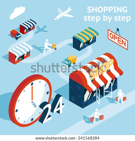 Cartooned Shopping Concept Graphic Design  Emphasizing Shopping Stores  People and 24 Hours Open. - stock vector