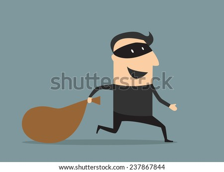Cartooned thief in black mask and costume running away from the pursuit dragging sack with loot  - stock vector