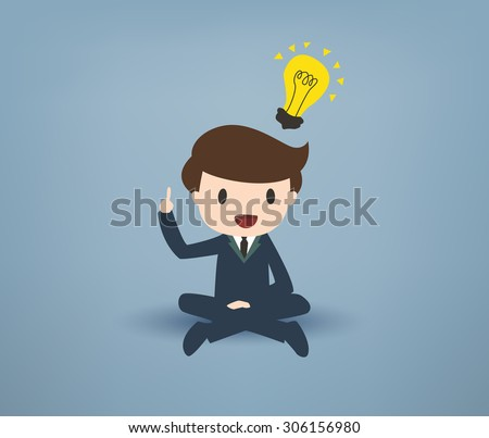 Cartooned Young Businessman Sitting with Legs Crossed, Pointing his Finger Up with Yellow Bulb on Over his Head Against Gray Background. - stock vector