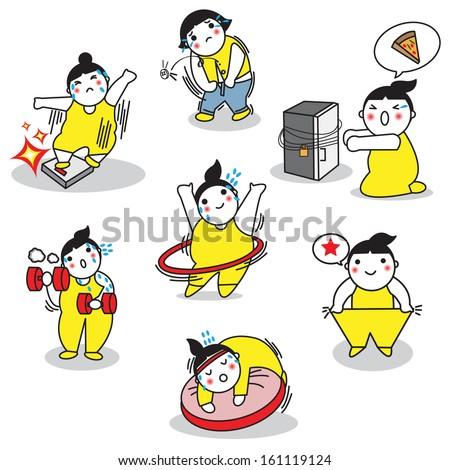 Cartoonish character on diet illustration set - stock vector