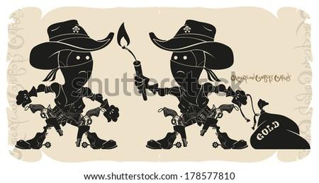 Cartoons bandits cowboys, vector - stock vector