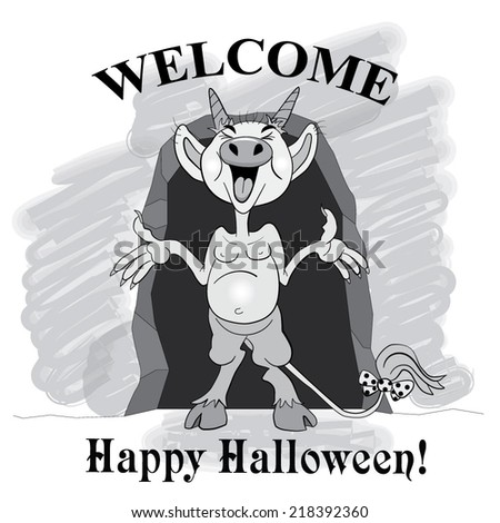 "Cartoons funny imp near the entrance to the cave with the word ""Welcome"". - stock vector"